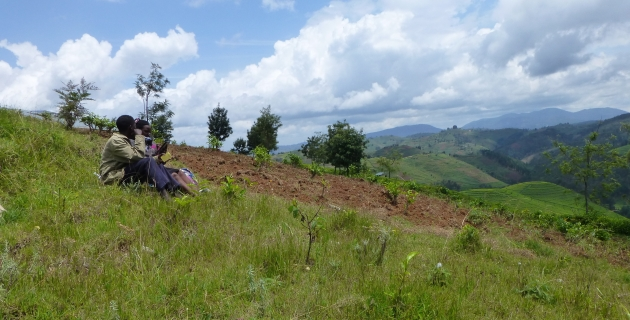 An enumerator practices administering a survey as part of the pilot testing for the RCT in Rwanda.